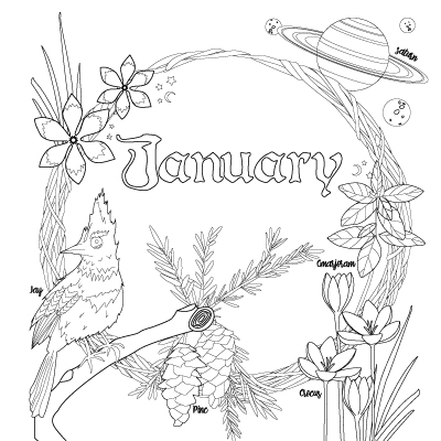 includes a calendar planning page and coloring wreath for each month - Botany Coloring Book
